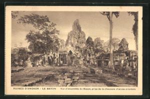 AK Siem Reap, Ruines D` Angkor-Le Bayon, Vue d`ensemble du Bayon, prise de la chaussèe d`acces orientale
