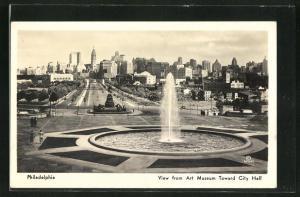 AK Philadelphia, PA, View from Art Museum Toward City Hall