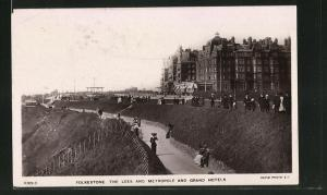 AK Folkestone, The Lees and Metropole and Grand Hotels