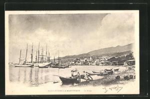 AK Saint-Pierre-la-Martinique, La Plage, Strandansicht mit Segelbooten