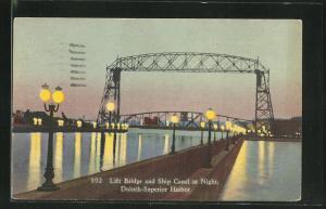 AK Duluth, MN, Lift Bridge and Ship Canal at Night
