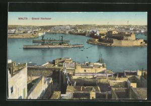 AK Malta, Panorama mit Grand Harbour