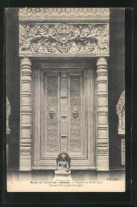 AK Kambodscha, Musèe de Sculpture Comparèe-Bakou ou Prah Kou, Fausse Porte