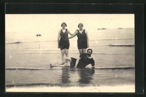 AK Sur la Plage, Baigneur et Baigneuses, Badende in Badekleidung am Strand