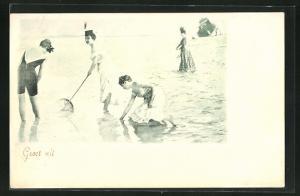 AK Frauen in Badeanzügen am Strand, Bademode