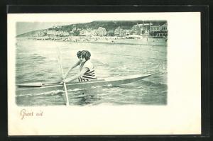 AK Kanutin im Badeanzug rudert zum Strand
