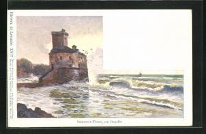 Künstler-AK Edward Harrison Compton: Rapallo, Sarazenen-Thurm, Verlag Philipp + Kramer Nr. XV /7