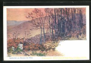 Künstler-AK Edward Harrison Compton: Hameau, Landschaft im Spätherbst, Verlag Philipp + Kramer Nr. XIX /3