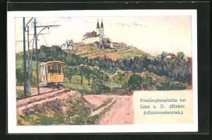 Künstler-AK Edward Harrison Compton: Linz, Pöstlingbergbahn (Elektr. Adhäsionsbetrieb), Verlag Philipp + Kramer