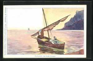 Künstler-AK Edward Harrison Compton: Sestri Levante, Fischerboot am Ufer, Verlag Philipp + Kramer Nr. XV /1