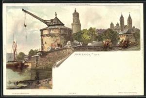 Künstler-AK Carl Biese: Andernach, Kran am Ufer