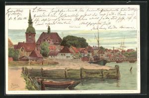 Künstler-AK Carl Biese: Kappeln, Partie am Hafen, Blick zur Kirche