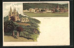 Künstler-AK Carl Biese: Remagen, Ortsansicht mit Rhein und Dampfer, Apollinariskirche
