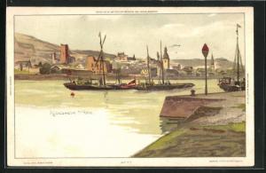 Künstler-AK Carl Biese: Rüdesheim, Uferpartie