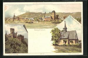 Künstler-AK Carl Biese: Oberlahnstein, Ortsansicht, Burg Lahneck, Wenzelkapelle