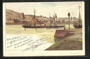 Künstler-AK Carl Biese: Rüdesheim, Uferpartie, Schiffe auf dem Rhein
