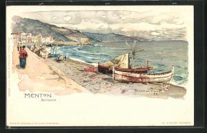 Künstler-Lithographie Manuel Wielandt: Menton, Scirocco, Uferpanorama