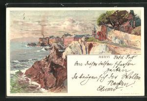 Künstler-Lithographie Manuel Wielandt: Nervi, Uferpanorama