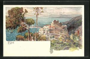 Künstler-Lithographie Manuel Wielandt: Eze, Panorama