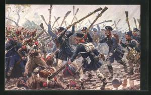 Künstler-AK Richard Knoetel: Deutsche Hiebe, Die preuss. Landwehr bei Dennewitz 1813