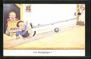 Künstler-AK John Wills: Ein Blindgänger!, Scherz, Kegeln