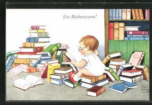 Künstler-AK John Wills: Ein Bücherwurm!