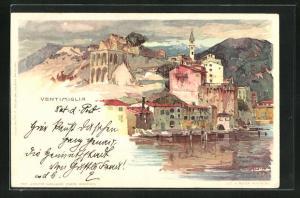 Künstler-Lithographie Manuel Wielandt: Ventimiglia, Panorama