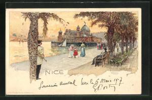 Künstler-Lithographie Manuel Wielandt: Nice / Nizza, Uferpromenade
