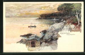 Künstler-Lithographie Manuel Wielandt: Menton, Cap Martin