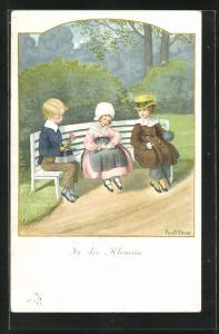 Künstler-AK Pauli Ebner: In der Klemme, drei Kinder auf der Parkbank