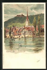 Künstler-AK Carl Biese: Stein a. Rh., Panorama