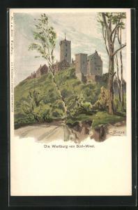 Künstler-AK Carl Biese: Die Wartburg von Süd-West
