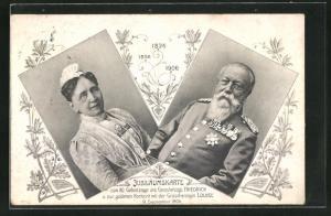 AK 80. Geburtstag des Grossherzogs Friedrich von Baden und Goldene Hochzeit 1906