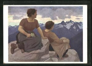 Künstler-AK Thomas Walch: Föhn, Maiden in den Bergen