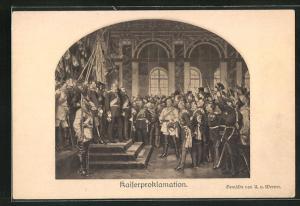 AK Kaiser Proklamation, Fürst Bismarck vor Kaiser Wilhelm I.