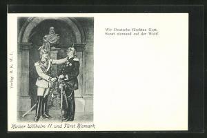 AK Kaiser Wilhelm II. und Fürst Bismarck vor einer Büste Kaiser Wilhelm I.