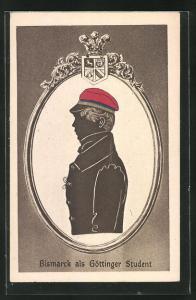 AK Bismarck als Göttinger Student, Silhouette