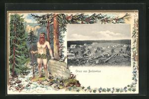 Passepartout-Lithographie Bockswiese, Teilansicht u. bärtiger Mann im Wald