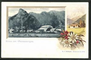 Passepartout-Lithographie Oberammergau, Teilansicht mit Weide u. Hütte mit Alpenblumen