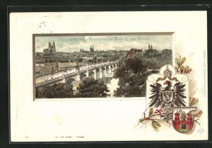 Passepartout-Lithographie Magdeburg, Panorama mit Dom, Lange Brücke, Wappen