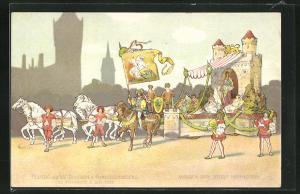 Lithographie Hannover, Festzug des XIV. Deutschen Bundesschiessens, Wagen der Stadt Hannover