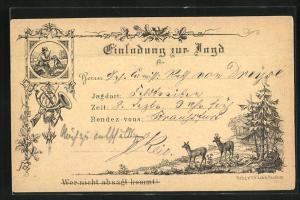 Vorläufer-AK Einladung zur Jagd, 1873, Wer nicht absagt kommt!