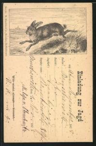 Vorläufer-AK Einladung zur Jagd, 1878, Hase