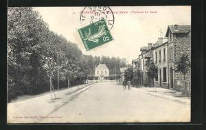 AK Migennes, Les Ecoles et Mairie, L`Avenue du Canal