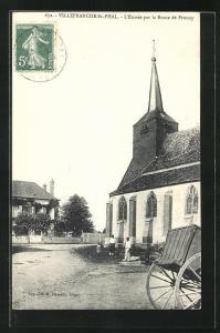 AK Villefranche-St-Phal, L`Entrée par la Route de Prunoy, Strassenpartie bei der Kirche
