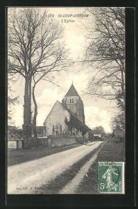 AK St-Loup-d`Ordon, L`Eglise, Strassenpartie bei der Kirche