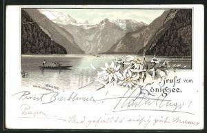 Vorläufer-Lithographie Königsee, 1895, Panorama vom Malerwinkel aus
