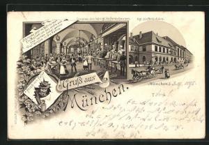 Vorläufer-Lithographie München, 1895, Gasthof Münchner Hofbräuhaus, Innen- und Aussenansicht