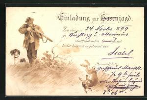 Lithographie Einladung zur Hasenjagd am 24. November 1899