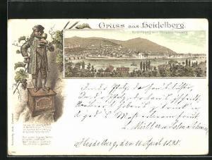 Vorläufer-Lithographie Heidelberg, 1895, Stadtansicht vom Philosophenweg aus, Zwerg Perkeo